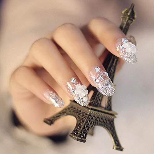 Brishow Kunstnägel für Hochzeit, 3D-Diamant, luxuriöses Design, Glitzer, Kunstnägel, 24 Stück