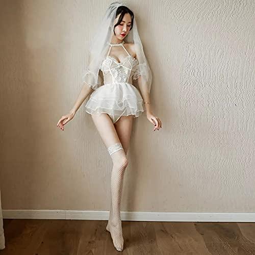 Handada - Body da donna, in pizzo, con scollo a V, sexy, sexy, con cintura posteriore, mini lingerie da sposa, senza maniche, in pizzo, con fiocco