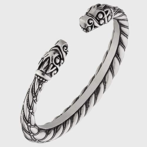 Viking Bracelet - Gotland Torc with Dragon's Head - Adjustable Pewter Norse Arm Ring - Scandinavian Nordic Mythology Strong Handmade Pagan Jewelry - Bangle Ring Cuff for Men Women