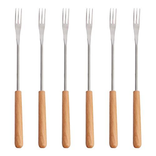 UPKOCH - Tenedores de fondue de acero inoxidable con mango de madera, tenedores de barbacoa para fondant al queso al chocolate fondue guimauves herramienta de cocina 6 unidades