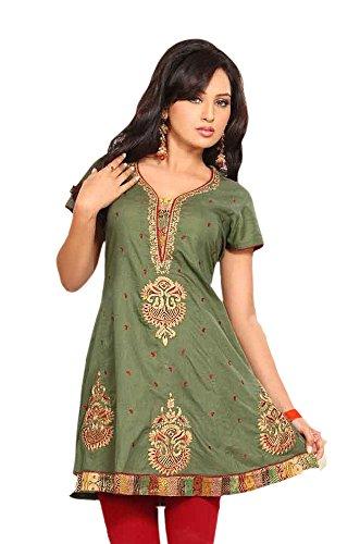 Jayayamala Frauen-grüner Baumwollschaufel-Ansatz gesticktes Tunika-Oberseiten-Kleid/Parteitunika/Hochzeitsoberseite (XL)