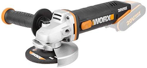 Worx WX800.9 Smerigliatrice Angolare a Batteria 20V, Impugnatura Supplementare, 8.600giri/min, Diametro del Disco 115mm - Solo Corpo Macchina, Senza Batteria, Caricabatterie e Accessori
