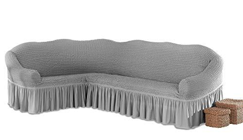 My Palace Beatrice elastischer Ecksofabezug mit Anti-rutsch Schaumstoffankern L-Form Sofahusse Eckcouch Cover Sofa Überwurf Spannbezug, Grau