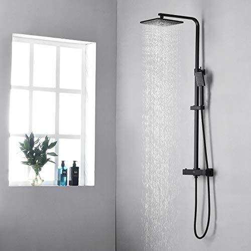 KAIBOR Schwarz Duschsystem mit Thermostat, Duschset mit Quadrat Kopfbrause 23x23 cm, Handbrause, Regendusche Höhenverstellbar, Duschsäule Schwarz mit Anti-Verbrühungs-Duschsystem