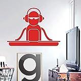 zhuziji art design decorazioni per la casa vinile cartone animato dj deck adesivo murale decorazioni per la casa mobile cuffie per musica pop bellissimo adesivo da parete i116x162cm