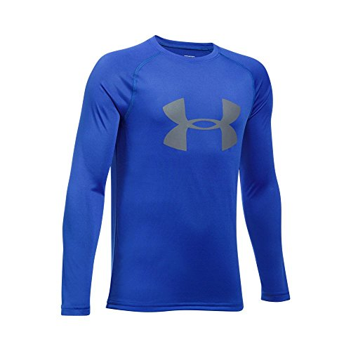 Under Armour Boys' Big Logo Long Sleeve T-Shirt,Ultra Blue /Graphite, Youth Small