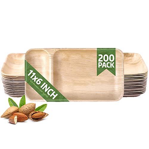 Eko Future 200枚パック 11x6インチ 長方形パームリーフプレートセット ? 丈夫でエレガント&エコ ? バーベキューに最適 ? キャンプ ? パーティー ? 家庭用 ? 生分解性 & 堆肥化可能な食器 ?