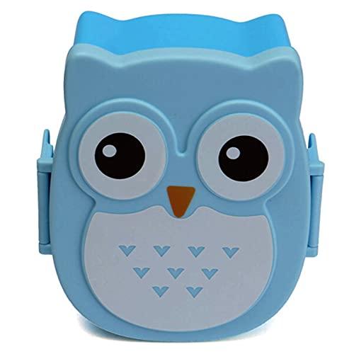 QFWM Caja de almuerzo de plástico para horno de microondas y horno de dibujos animados, portátil, tamaño: 16 x 13 x 6,5 cm, color: azul)