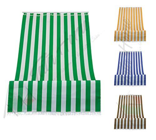 Tenda da Sole a Righe per Balcone Veranda o Terrazzo con Anelli e Ganci Tessuto Resistente da Esterno Misura cm 140x300 Colore Verde