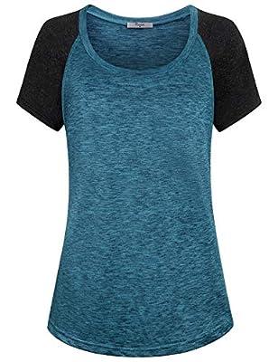 Cestyle Womens Round Neck Raglan Short Sleeve Yoga Shirt Workout Tunics Tops