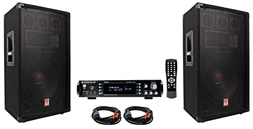 (2) Rockville RSG12.4 12 3-Way 1000w DJ PA Speakers+Bluetooth Amplifier+Cables