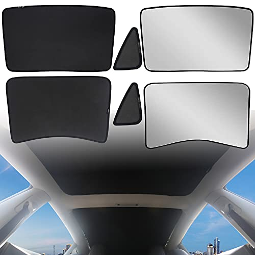 DIBMS Tesla Model 3 Sunshade Front Rear Glass Roof Sunroof Skylight Window Foldable Sunshield with Reflective Cover UV Rays Protection Heatshield 2016-2021 Tesla Model 3 Accessories(6 Pcs, Full Cover)