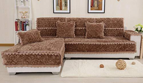 HXTSWGS Cojín de sofá de Invierno, cojín Acolchado Antideslizante, Funda de sofá de Estilo Europeo-Brown_110 * 180CM