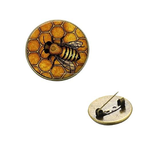 Bienenkönigin Gold Honigwabenbrosche Punk Fashion Glaskuppel handgefertigt Pin Abzeichen Deko für Imker, Insektenliebhaber Schmuck