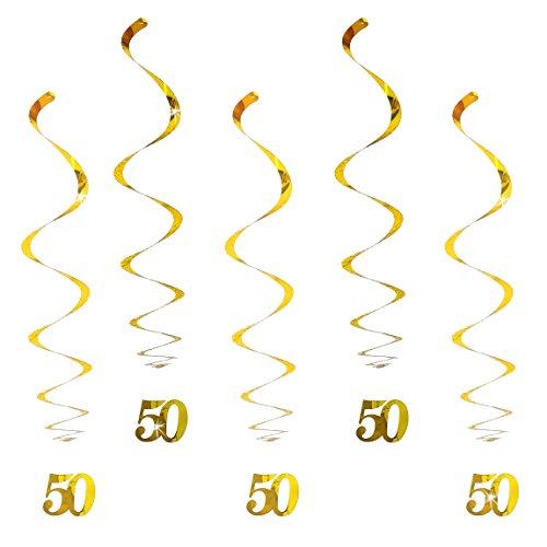 Oblique-Unique® Hänge-Deko Geburtstag 50 Jahre Gold - mit Bänder und Ösen 5er Pack