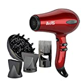 1875W Tourmaline Hair Dryer Ionic Frizz Control Fast Drying Blow Dryer Lightweight Compact Professional Hairdryer 2 Speed and 3 Heat Settings, Concentrator & Diffuser & Pik, Cool Shot