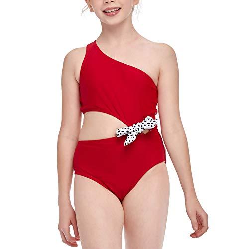 Bañador para Niña, Trajes de Baño de Una Pieza, Impreso Hombro Oblicuo Fuera de la Cintura Traje de baño Bikini de una Pieza