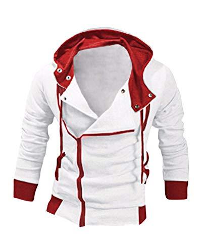 Minetom Herren Hoodies Kapuze Mit Schräg Kragen Mode Kontrastfarbe Reißverschluss Frühling Herbst Spiel Lässig Pullover Weiß-Rot1 EU S