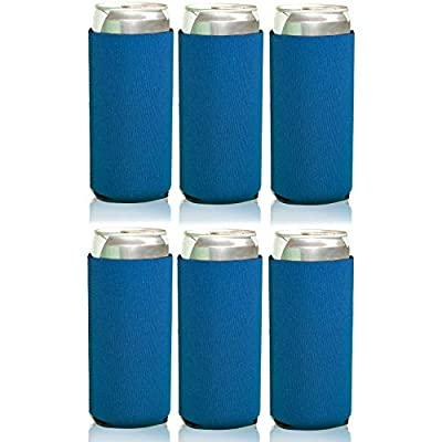 Neoprene Slim Can Cooler Sleeve White Claw - 12 oz Tall Slim Cans Iced Coffee, Michelob Ultra, Red Bull, Spiked Seltzer, Truly- Blank Neoprene Can Cooler (6 Pack   All Blue Blank)