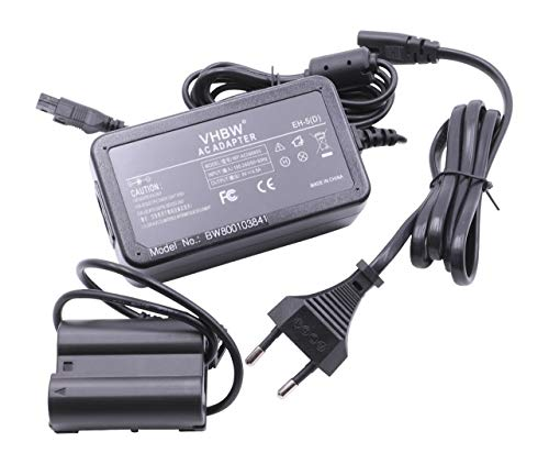 vhbw Kamera-Netzteil Netzkabel passend für Nikon D7100, D610, D750, D7200, D500 Kamera, Digitalkamera, DSLR - Netzteil + DC Coupler, 2m
