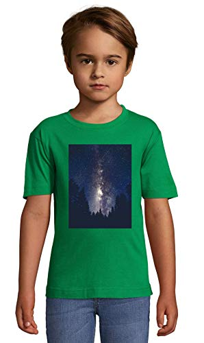 Forest and Milky Way Galaxy Art Green Crew Neck Kids T-Shirt 142-152 (12 Year)