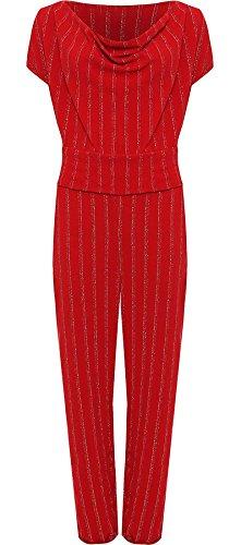 Islander Fashions Womens Plus Size �rmellos Lurex Gestreifter Jumpsuit mit Streifenmuster Overall mit Wasserfallausschnitt Rot EU 48
