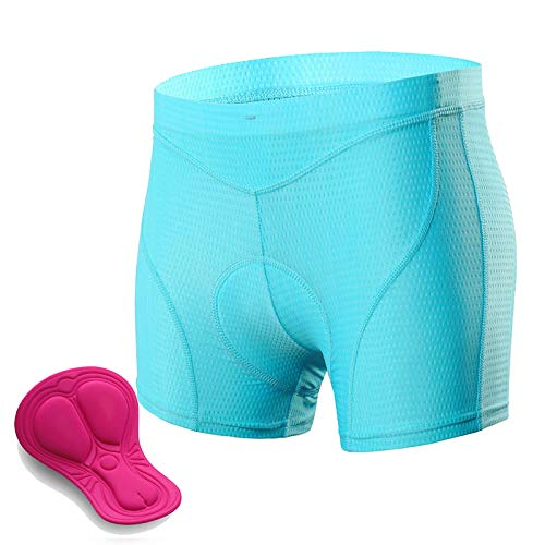 Padded Cycling Shorts Women, 3D Gel Shockproof Bike Underwear, Moisture Wicking Breathable Quick Dry Undershorts High Waist Underpants for Road Bike, Bicycle,Blue,M