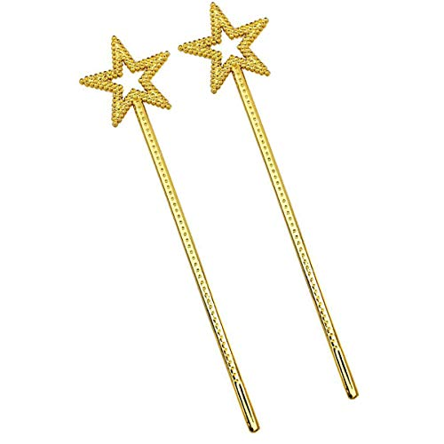 mollensiuer 2Pcs 13 Inches Star Wand Costume Props Star Magic Wand Angel Fairy Wands Sticks for Birthday Party Halloween Cosplay Christmas Princess Role Play, Gold