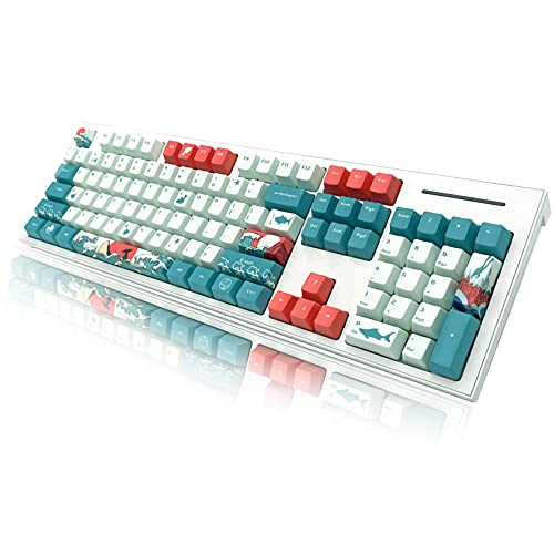 BAOD PBT Keycaps, Translucent Layer Mechanical Keyboard Keycap, 104 Key Set with Key Puller Compatible with Mechanical Keyboard Cherry MX Switch Suitable for 104/87/61 60% Keyboard (Coral Sea)