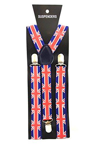 Bretelles réglables, unisexes et élastiques pour adulte et enfant - Motif : Union Jack - Forme : Y