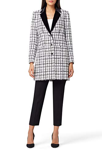 Tahari ASL Women's Velvet Lapel Boucle Topper Jacket Dress Coat, White Black Check, 10