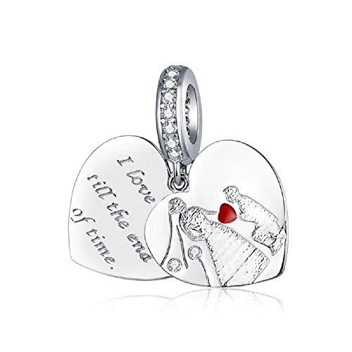 BAIYANG Plata De Ley 925 El Juramento De Amor Encantos Ajuste Original Pandora Brazaletes Joyería De Mujer Regalo De San Valentín
