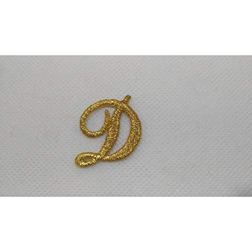 TOMASELLI MERCERIA Lettera termoadesiva Ricamata Punto Pieno in corsivo marbet Alte 25 mm Colore Oro Lurex - Lettera D