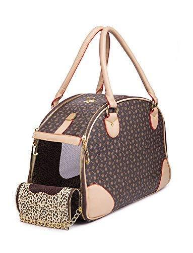 BETOP HOUSE Fashion Dog Carrier PU Leather Dog Handbag Dog Purse Cat Tote Bag Pet Cat Dog Hiking Bag, Brown, Large 422918cm