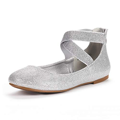 DREAM PAIRS Women's Sole_Stretchy Silver/Glitter Fashion Elastic Ankle Straps Flats Shoes Size 5 M US