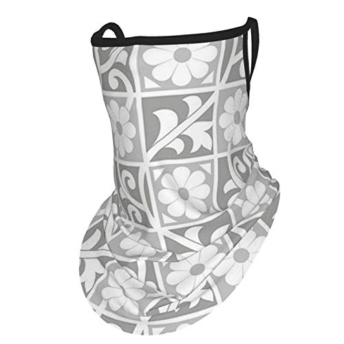 Silver Floral Ornaments Blooming Flowers In Squares Royal Abstract Art Themed Pattern White Greyear Hangers Uv Protection Neck Gaiter Scarf, Outdoor Headband For Fishing Cycling Hiking