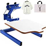 VEVOR Impresora de Pantalla 1 Color 1 estación Kit de impresión de Pantalla de Seda 55x45cm T-Shirt Máquina de serigrafía Serigrafía Prensa