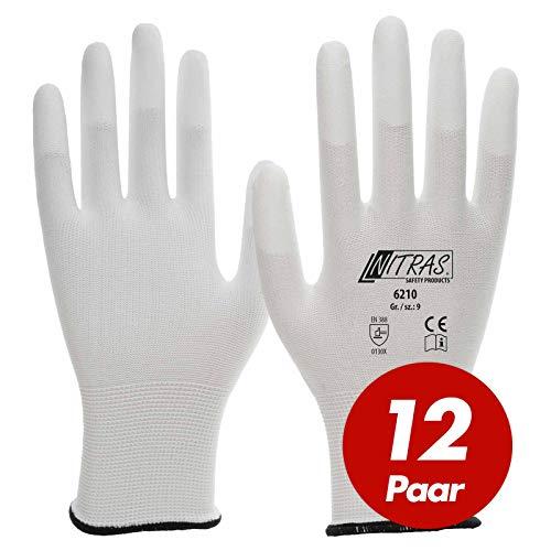 12 Paar NITRAS Nylon-Handschuhe 6210 Arbeitshandschuhe Gartenhandschuhe PU-Fingerkuppenbeschichtung, Größe:8