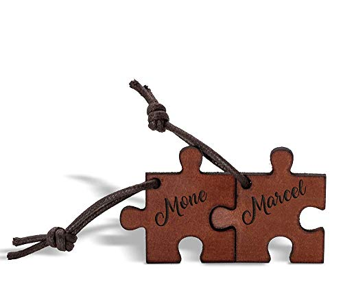 CHRISCK design Echtes Leder Schlüsselanhänger mit Namen - Gravur Puzzle Partner Liebes Geschenk Geschenkidee Valentinstag Valentinstaggeschenk für Frauen Männer