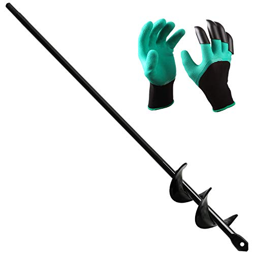 BLIKA Auger Drill Bit, Garden Plant Flower Bulb Auger 1.60' x 18' Rapid Planter with Garden Genie Gloves, Bulb & Bedding Plant Auger for 3/8' Hex Drive Drill