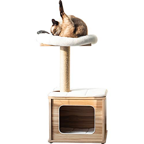 Contemporary Wood Kitten Activity  Tree Condo Scratching Post 16x13x30 inch