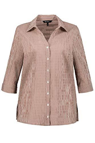 Ulla Popken Damen große Größen bis 68 | Hemd-Bluse | gestreiftes Shirt | Bubblebluse mit Hemdkragen | Seitenschlitze, bügelfrei & ¾ Ärmel | haselnuss 54+ 697563 32-54+