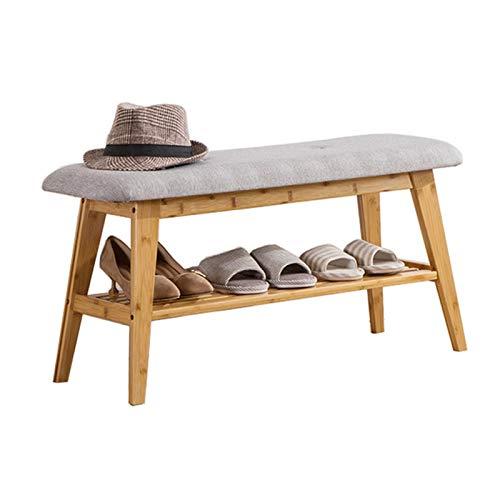 MAATCHH Mesa de Trabajo Banco de Zapatos para Entrada, Pasillo, Dormitorio y Zapato de Bambú de Armario con Asiento Acolchado Sala de Estar del Pasillo de Entrada (Color : Brown, Size : 90x30x45cm)