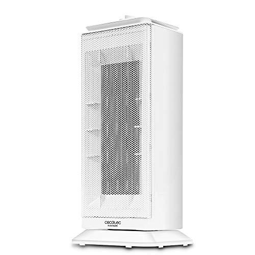 Cecotec Calefactor Baño Cerámico Ready Warm 6200 Ceramic Sky. Vertical, Oscilación, 2000 W, Termostato Regulable, Protección sobrecalentamiento y antivuelco, Silencioso, 20 m2