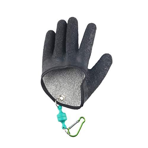 BESPORTBLE Angelhandschuhe Fischhandschuhe rutschfeste wasserdichte Schnittfeste Jagd Angeln Handschuhe mit Haken für Fischen Fisherman Fingerschutz Handschutz(Linke Hand)