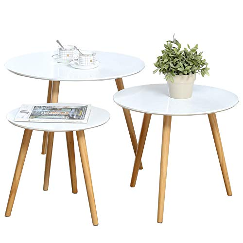 Nesting Tables Set of 3 Coffee Table Round End Side Table Night Stand Table Telephone Sofa Snack...