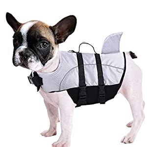 Queenmore Ripstop Dog Life Jacket Shark Life Vest for Dogs, Safety Lifesaver with High Buoyancy and Lift Handle for Small and Medium Breeds(Grey XS)