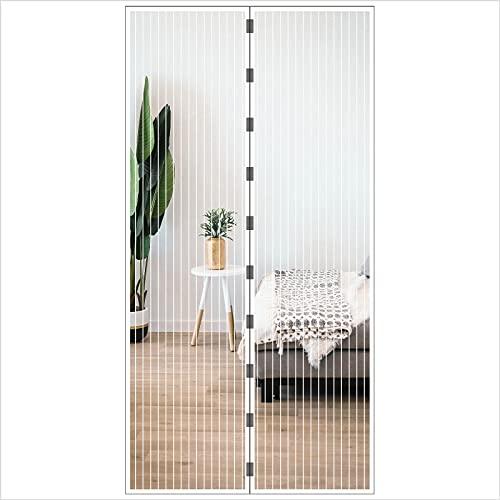 JustGo Cortina mosquitera magnética para puerta y ventana, adaptable y recortable, cierre automático con imanes, protección contra insectos, color blanco, dimensiones 180 x 260 cm