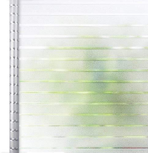 Homein Fensterfolie Streifen 44.5 x 150 cm, Sichtschutzfolie Folie für Fenster Selbstklebend Milchglasfolie Statisch Haftend Klebefolie Transparent Blickdicht Duschkabine Bad Küche