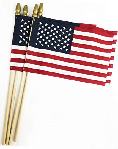 GIFTEXPRESS Proudly MADE IN U.S.A. 8x12 Inch Spearhead Handheld American Stick Flags /Grave marker American Flags/USA Stick Flag (12)